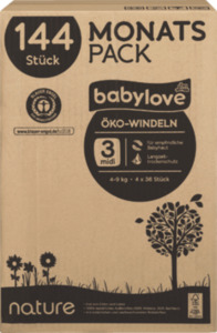 babylove Öko-Windeln nature midi, Monatspack,4 x 36 St