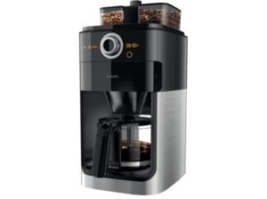PHILIPS HD7769/00 Grind&Brew Kaffeemaschine mit Glaskanne in Schwarz/Metall