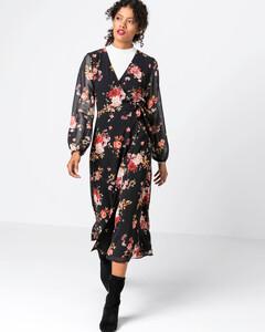 Hallhuber Wickelkleid mit Rosendruck für Damen in multicolor