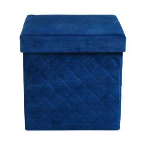 Samt-Falthocker in Steppoptik mit Stauraum, 38x38x38cm, dunkel-blau