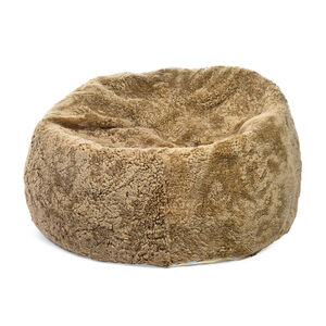 Pouf Fell Curly, D:90cm, beige