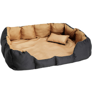 Hundebett mit Decke und Kissen 110 x 90 cm schwarz/braun