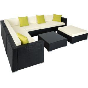 Rattan Lounge mit Aluminiumgestell Marbella schwarz