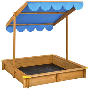 Sandkasten mit verstellbarem Dach blau