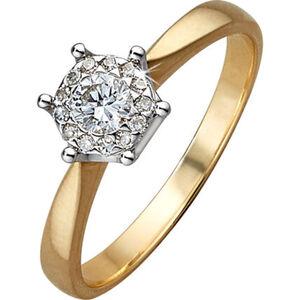 Vandenberg Damen Ring, 585er Gelbgold mit Diamanten, 56, gold