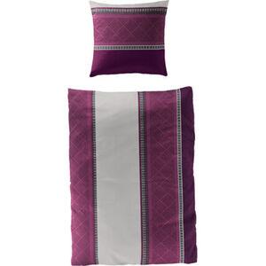 Bierbaum Satin Bettwäsche Streifen, 135x200, violett, 135x200 cm