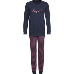 Schiesser Schlafanzug, Print, Single-Jersey, Streifen, für Damen