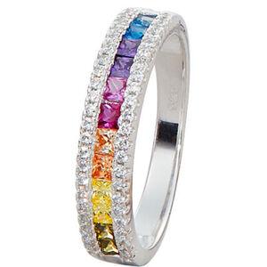 Vandenberg Damen Ring, 925er Silber, bunte Zirkonia, 54, silber