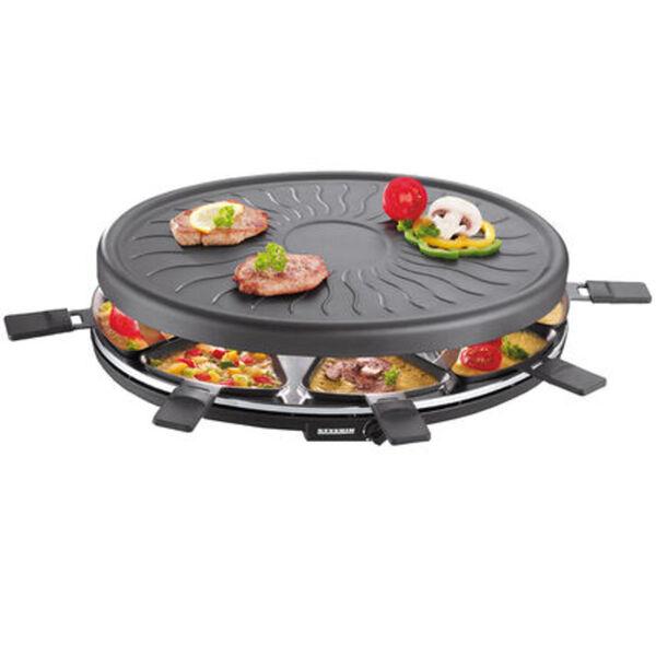 Severin Raclette-Grill RG 2681, 8 Pfännchen, 1100W, Temperaturregler, schwarz, schwarz
