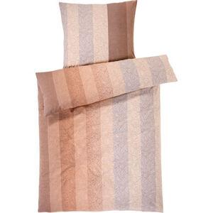 Estella Flanell Bettwäsche Paisley Streifen, 3er-Set, nougat, 135x200 cm, hellbeige, cm