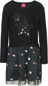 Kinder Strickkleid mit Tüllrock mit Pailletten, Sterne schwarz Gr. 116 Mädchen Kinder