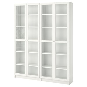 BILLY / OXBERG                                Bücherregal, weiß, Glas, 160x30x202 cm