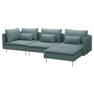 SÖDERHAMN                                4er-Sofa, mit Récamiere, Finnsta türkis