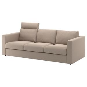 VIMLE                                3er-Sofa, mit Nackenkissen, Tallmyra beige