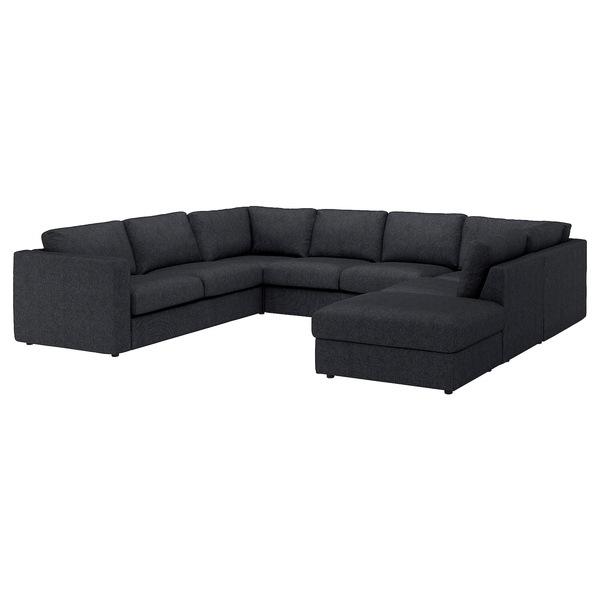 VIMLE                                Sofa, U-Form/6-sitzig, ohne Abschluss, Tallmyra schwarz/grau