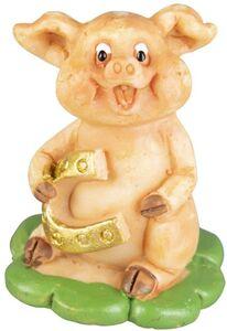 Glücksschwein - aus Polyresin - 3 x 3 x 4 cm - 1 Stück