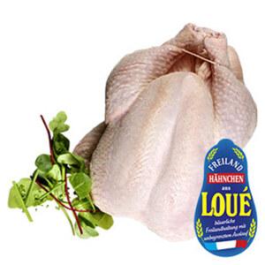 Frisches Französisches Loue Hähnchen aus Freilandhaltung, hier schmecken Sie den Unterschied, je 1 kg