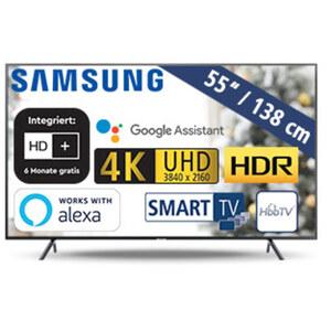 UE55RU7179 • 3 x HDMI, 2 x USB, CI+ • geeignet für Kabel-, Sat- und DVB-T2-Empfang • Maße: H 71,4 x B 123,9 x T 5,9 cm • Energie-Effizienz A (Spektrum A++ bis E)