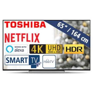 65U5863DA • 3 x HDMI, 2 x USB, CI+ • geeignet für Kabel-, Sat- und DVB-T2-Empfang • Maße: H 84,1 x B 145,9 x T 7,2 cm • Energie-Effizienz A+ (Spektrum A++ bis E)