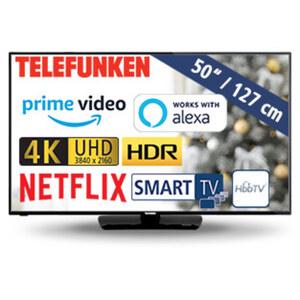 D50U550N4CWH • 3 x HDMI, 2 x USB, CI+ • geeignet für Kabel-, Sat- und DVB-T2-Empfang • Maße: H 65,6 x B 113 x T 8,2 cm • Energie-Effizienz A+ (Spektrum A++ bis E)