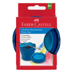 """Faber Castell Wasserbecher """"Clic&Go"""" in Blau"""