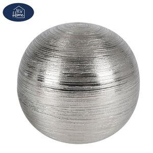 Keramik-Dekokugel Groß 15,5x14cm Silber