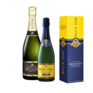 Champagner Heidsieck Monopole Blue Top Brut oder Jacquart Brut Mosaique