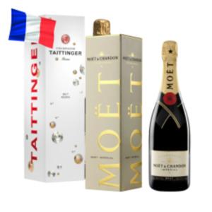 Champagner Moët & Chandon Brut Impérial oder Taittinger Brut Réserve