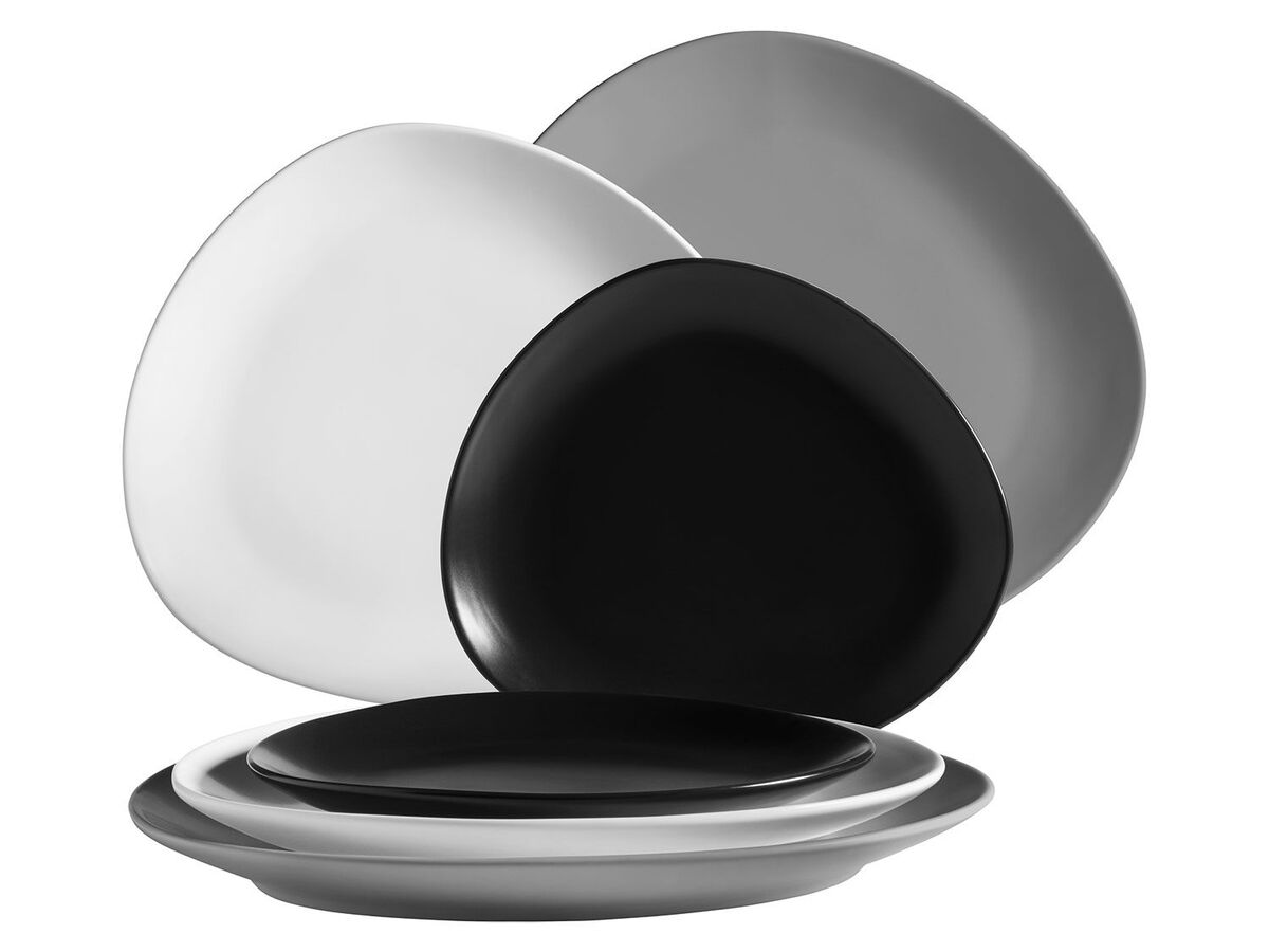 Bild 1 von MÄSER Serie Glendale, Teller Set flach 6-teilig für 2 Personen, modernes Tafelservice aus Dessertteller, Frühstücksteller und Speiseteller, matt lasiert, Keramik, Schwarz / Weiß / Grau