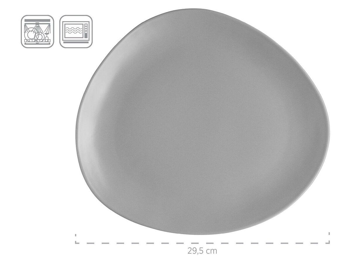Bild 3 von MÄSER Serie Glendale, Teller Set flach 6-teilig für 2 Personen, modernes Tafelservice aus Dessertteller, Frühstücksteller und Speiseteller, matt lasiert, Keramik, Schwarz / Weiß / Grau