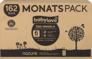 babylove Öko-Windeln nature xxl, Monatspack, 6x27St