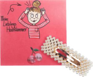 Cherry Picking Haarklammer rechteckig weiße Perlen