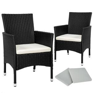 2 Rattansessel inkl. 4 Sitzbezüge schwarz