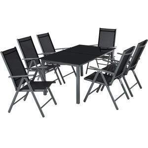 Aluminium Sitzgruppe 6+1 dunkelgrau