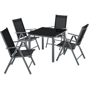 Aluminium Sitzgruppe 4+1 dunkelgrau