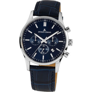 "Jacques Lemans Herren Chronograph London ""1-2025C"", silber / blau"
