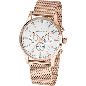 "Jacques Lemans Herren Chronograph London ""1-2025J"", roségold / silber"