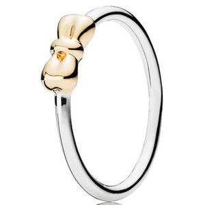 "Pandora Ring Petite Schleife ""190972"", 925er Silber; 585er Gold, 56, silber"