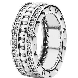 "Ring ""Pandora Logo 190962CZ"", 925er Silber, silber"
