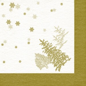 Braun & Company Servietten Motiv Trees + Snowflakes gold ,  40 x 40 cm, 20er Pack