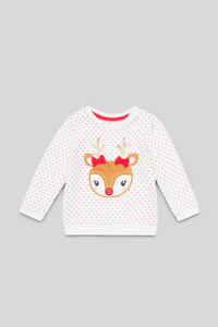 Baby-Weihnachts-Sweatshirt - gepunktet - Glanz Effekt