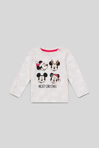Micky Maus - Baby-Weihnachts-Langarmshirt - Bio-Baumwolle