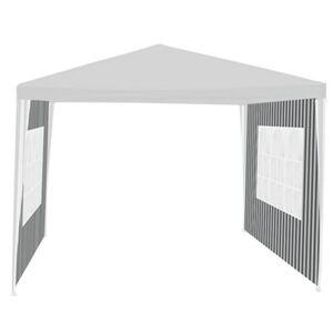2 Seitenteile Grau/Weiß für Steckpavillon 3x3m