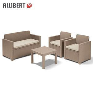 Allibert Lounge-Sitzgruppe Alabama Cappuccino mit Sitzauflagen