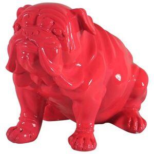 Deko-Bulldogge sitzend 19,5cm Pink