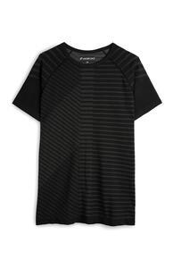 Schwarzes, nahtloses T-Shirt mit Linienmuster
