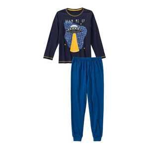 Jungen-Schlafanzug mit Ufo-Frontaufdruck, 2-teilig