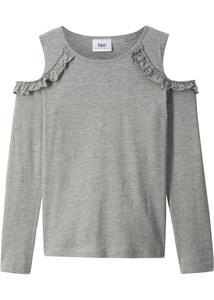 Langarm Cold-Shoulder-Shirt mit Rüschen