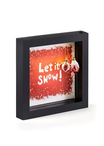 LED Deko-Rahmen Let it snow mit Kugeln