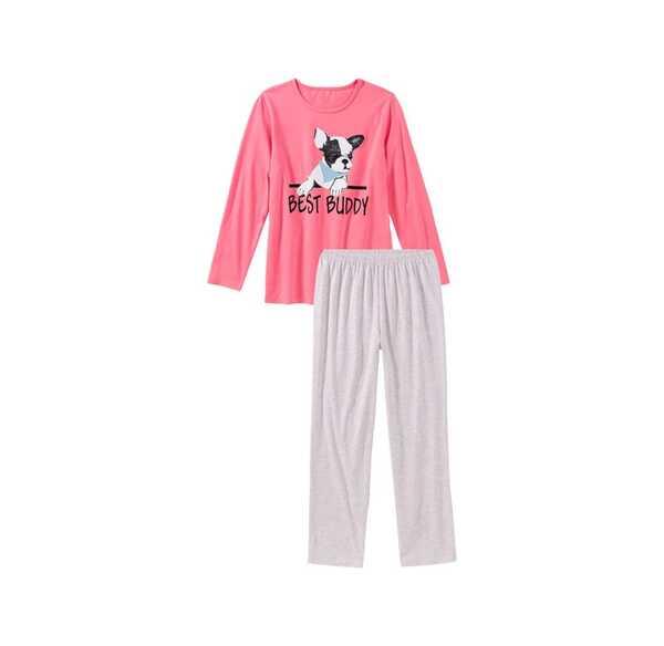 Mädchen-Schlafanzug mit Hunde-Frontaufdruck, 2-teilig